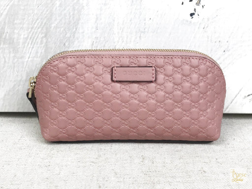 GUCCI Pink Microguccissima Leather Cosmetic Pouch