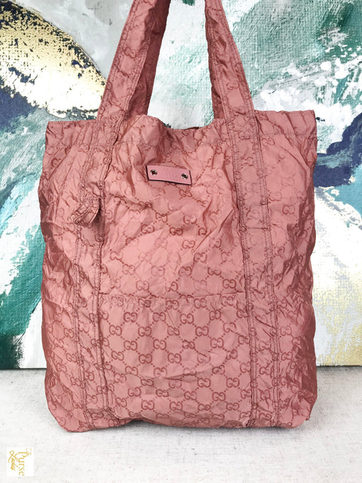 GUCCI Pink Nylon GG Web Packable Teddy Bear Tote