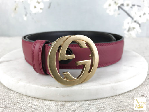 GUCCI Pink Leather GG Belt SZ 80/32