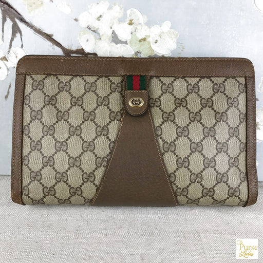 GUCCI Brown GG Web Coated Canvas Pouch Clutch Bag