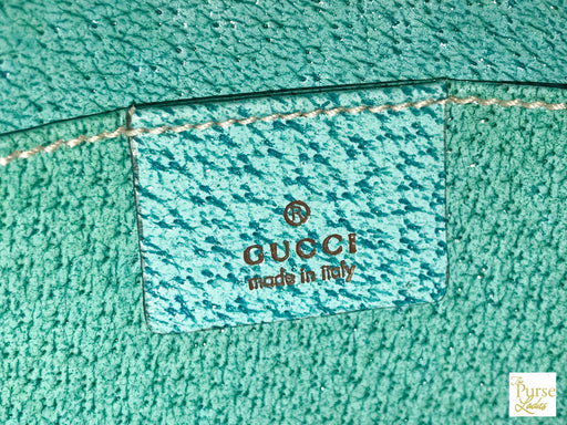 GUCCI Brown GG Web Canvas Turquoise Wallet on String Crossbody Bag Zip