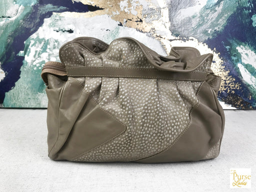 GUCCI Beige Leather Perforated Suede Shoulder Bag