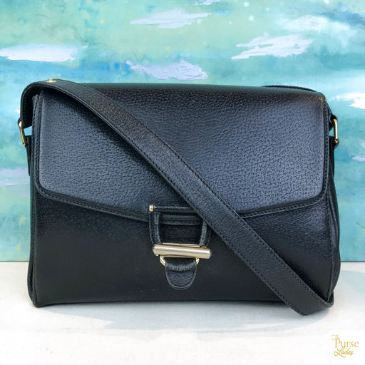 $895 GUCCI Black Textured Leather Flap Vintage Shoulder Bag SALE!