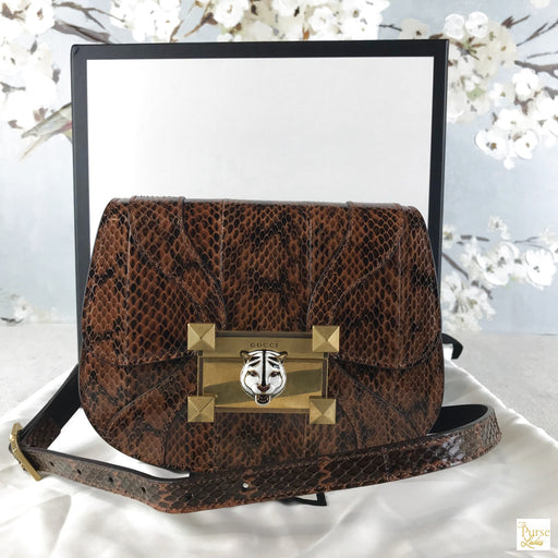 GUCCI BROWN Snakeskin Osiride Flap Crossbody