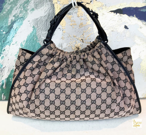 GUCCI Black GG Web Ruched Top Shoulder Bag