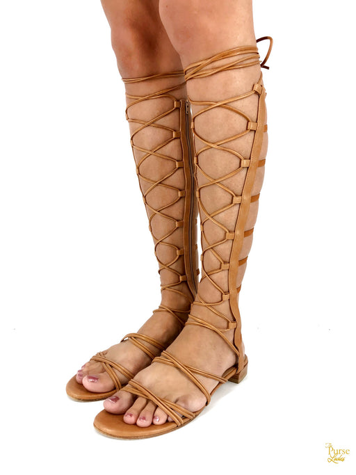 STUART WEITZMAN Brown Grecian Gladiator Sandals Sz 10