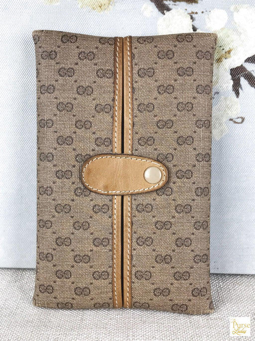 GUCCI Brown Micro GG Vintage Tissue Holder
