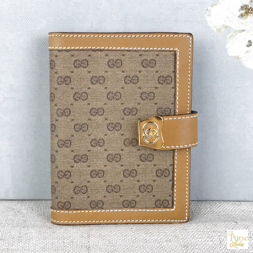 GUCCI Brown Micro GG Notepad Vintage