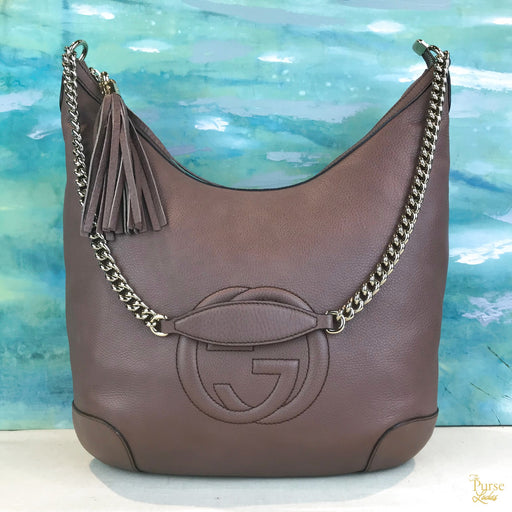 GUCCI Purple Leather Soho Hobo
