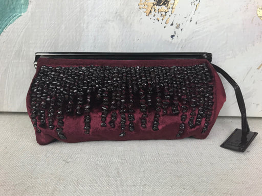 GUCCI Burgundy Velvet Tom Ford Beaded Clutch Bag