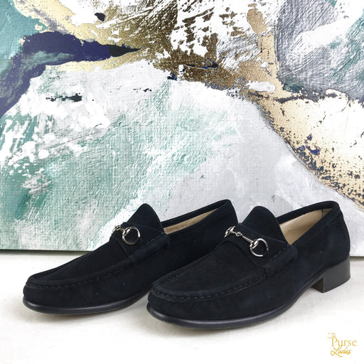GUCCI Black Suede Horsebit Loafers SZ 39