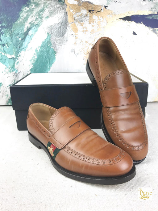 GUCCI Brown Leather Spirit Bee Penny Loafers Men's SZ 8.5