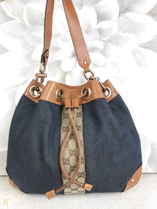Gucci Denim Drawstring Shoulder Bag
