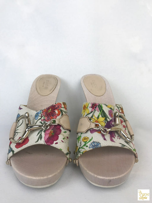 GUCCI White Canvas Flora Horsebit Mules SZ 8