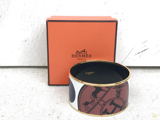 HERMES White Enamel Confettis Dex Libris Wide Bangle