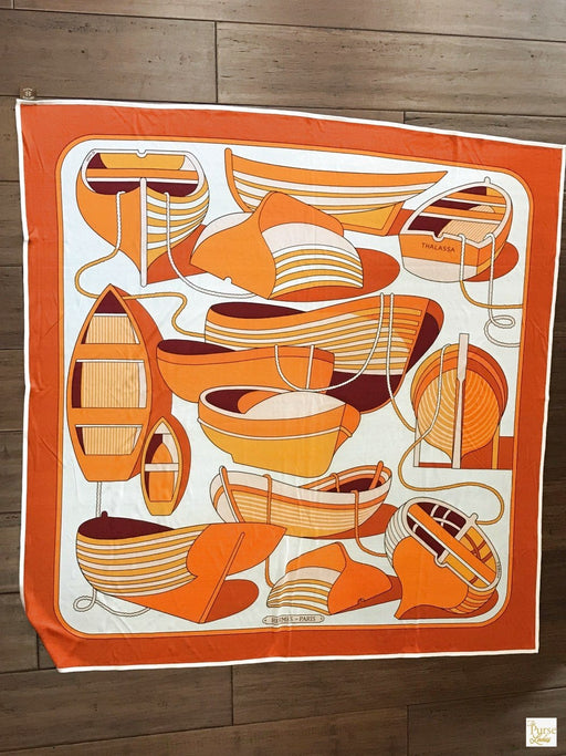 Hermes Orange Multi-Color Silk Thalassa Scarf