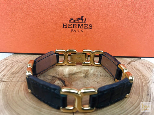 HERMES Black Crocodile Leather Gold Link Bracelet