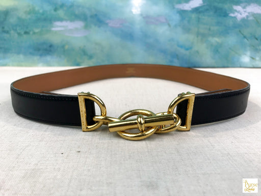 HERMES Chain d'Ancre Black Leather Belt