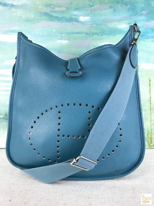 HERMES Blue Clemence Evelyn III PM Hobo