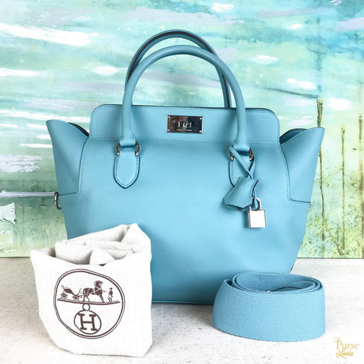 HERMES Blue Swift Leather Toolbox Satchel