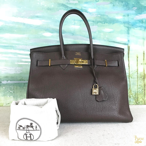 HERMES Birkin 35 Brown Clemence Leather Bag