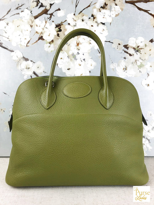 HERMES Green Clemence Bolide 35 2 Way Satchel