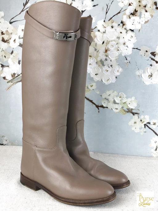 HERMES Beige Leather Jumping Boots SZ 37