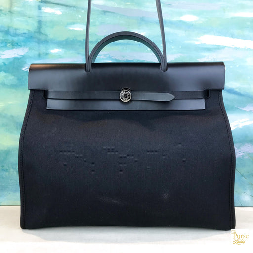 HERMES Black Canvas Herbag MM Shoulder Bag