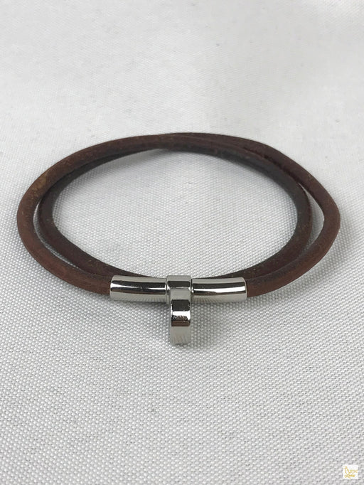 HERMES Brown Leather Cord Duburu Kelly Choker