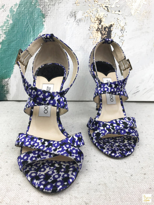Jimmy Choo Purple Leopard Lottie Sandals SZ 37