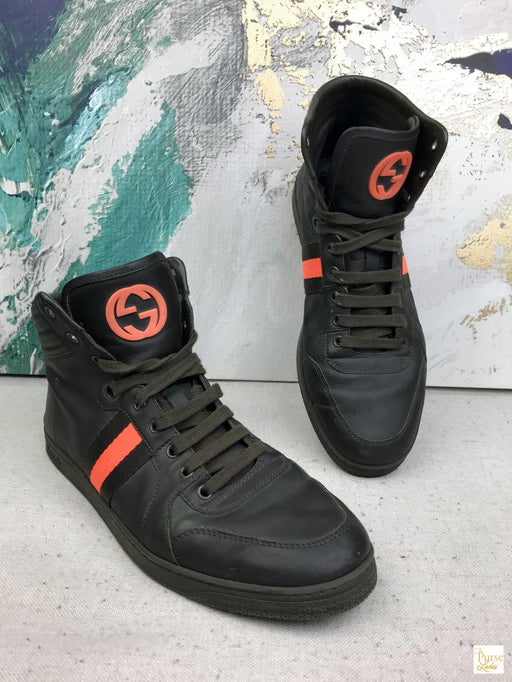 GUCCI Green Leather High Tops Sneakers SZ 9.5