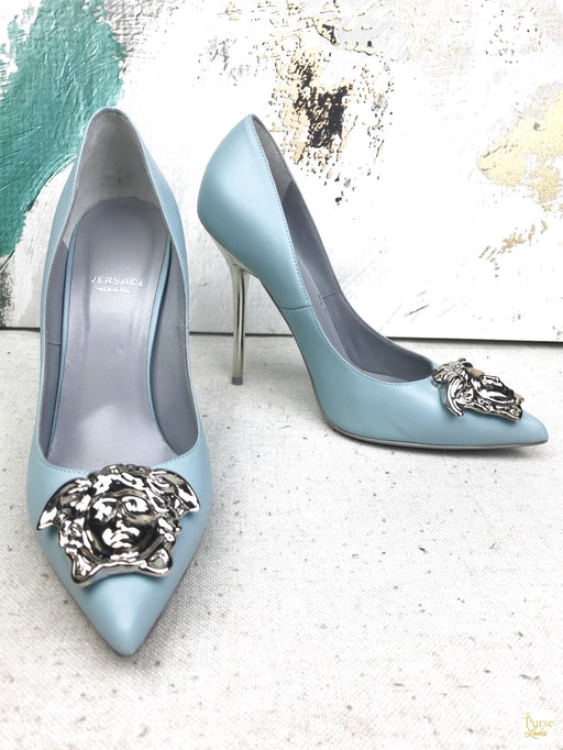 VERSACE Blue Leather Palazzo Medusa Head Pumps SZ 38