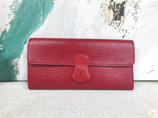 Louis Vuitton Red Epi Leather Jewelry Travel Case Vintage