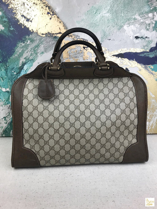 GUCCI Brown GG Web Coated Canvas Satchel Large Doctor Bag