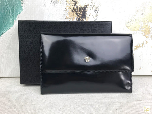 VERSACE Black Patent Leather Medusa Face Clutch Wallet Accessories Bag