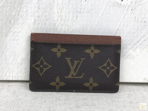 LOUIS VUITTON Brown Coated Canvas Monogram Card Case Accessories