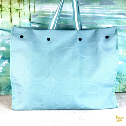 GUCCI Light Blue Canvas Vintage Large Beach Weekender GG Tote Bag