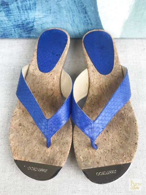 JIMMY CHOO Blue Snake Embossed Pence Thong Sandals SZ 37.5