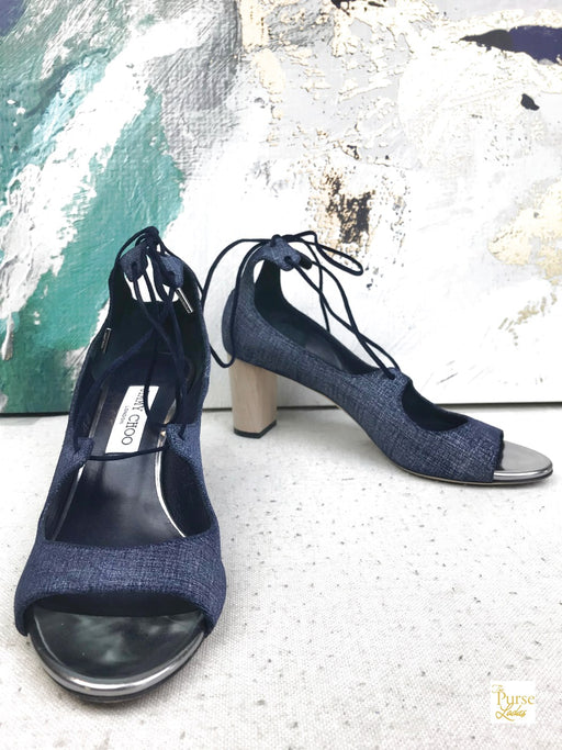Jimmy Choo Blue Denim Vernie Heels SZ 40