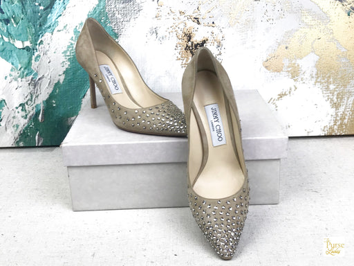 JIMMY CHOO Romy Star Degrade Suede Sz 37.5 Pumps Heels