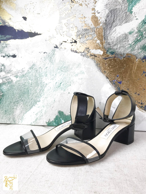 JIMMY CHOO Black Jaime Sandals Sz 36 Heels