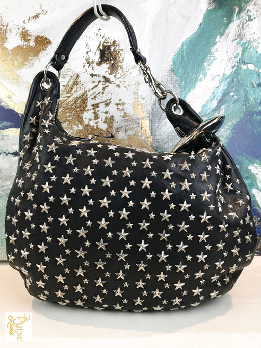 JIMMY CHOO Black Leather Star Hobo Bag