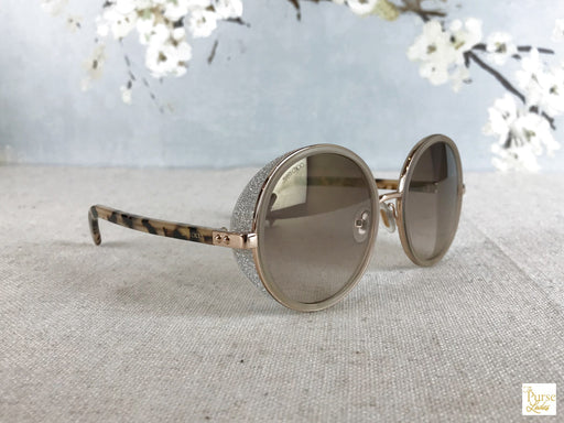 JIMMY CHOO ANDIE/S Gold Round Glitter Sunglasses