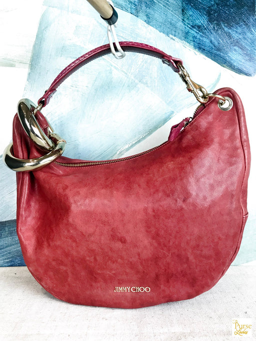 $1535 Jimmy Choo Red Bangle Bracelet Hobo Bag Leather Gold Reptile