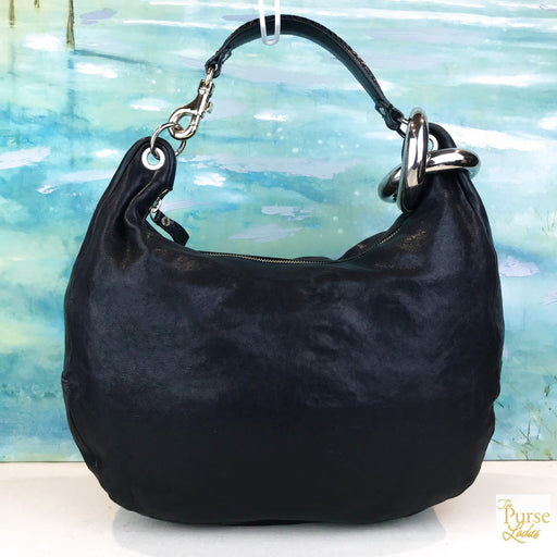 JIMMY CHOO Black Bangle Hobo