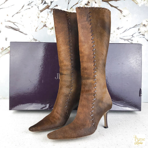 JIMMY CHOO Brown Calf Hair Knee High Boots SZ 36