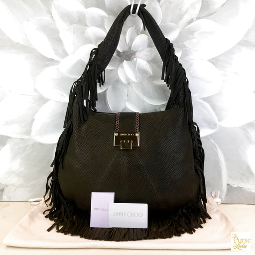 JIMMY CHOO Roxie Brown Fringe Hobo