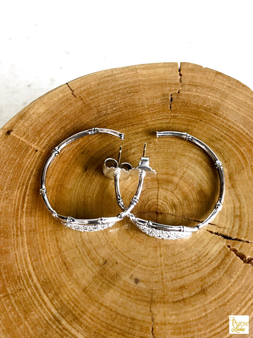 $1200 JOHN HARDY Bamboo 925 Sterling Silver Diamond Large Hoop Earrings