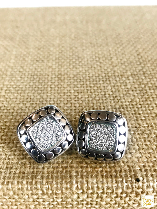 $1200 JOHN HARDY 925 Sterling Silver 18k Gold Diamond Dots Square Pierced Earrings