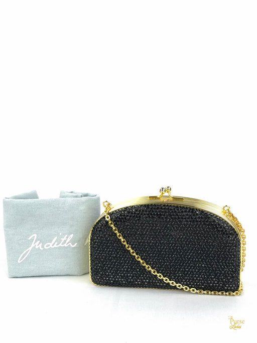 JUDITH LEIBER Black Crystal Minaudiere Evening Clutch